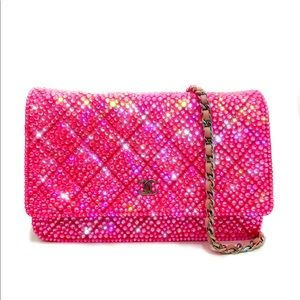 Auth Chanel Strass Neon Pink Wallet On Chain WOC